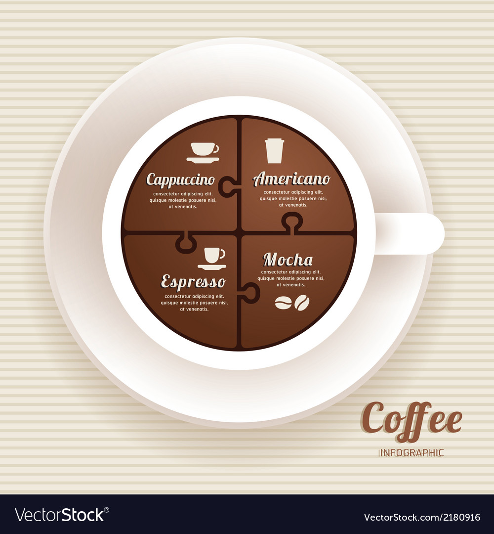 Infographic template with coffee cup jigsaw vector | Price: 1 Credit (USD $1)