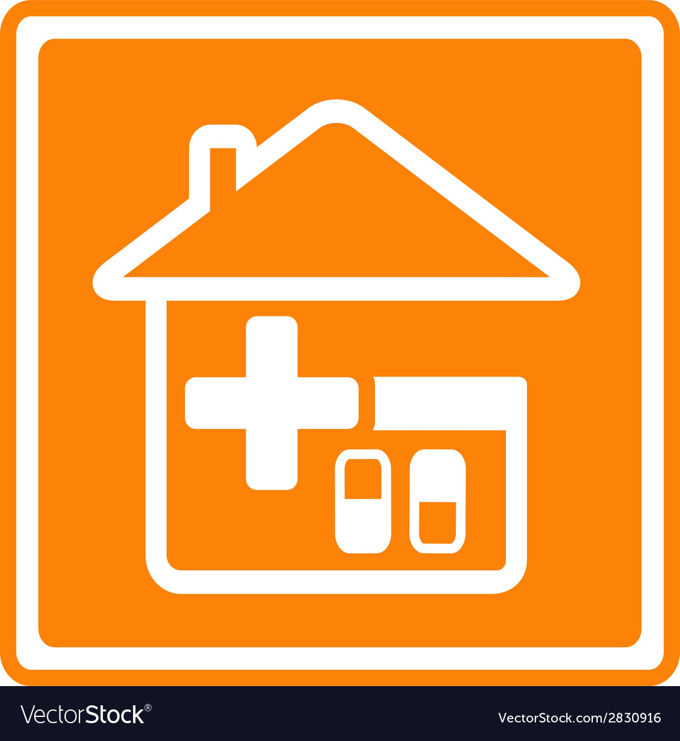 Medical icon with house cross and pills vector | Price: 1 Credit (USD $1)
