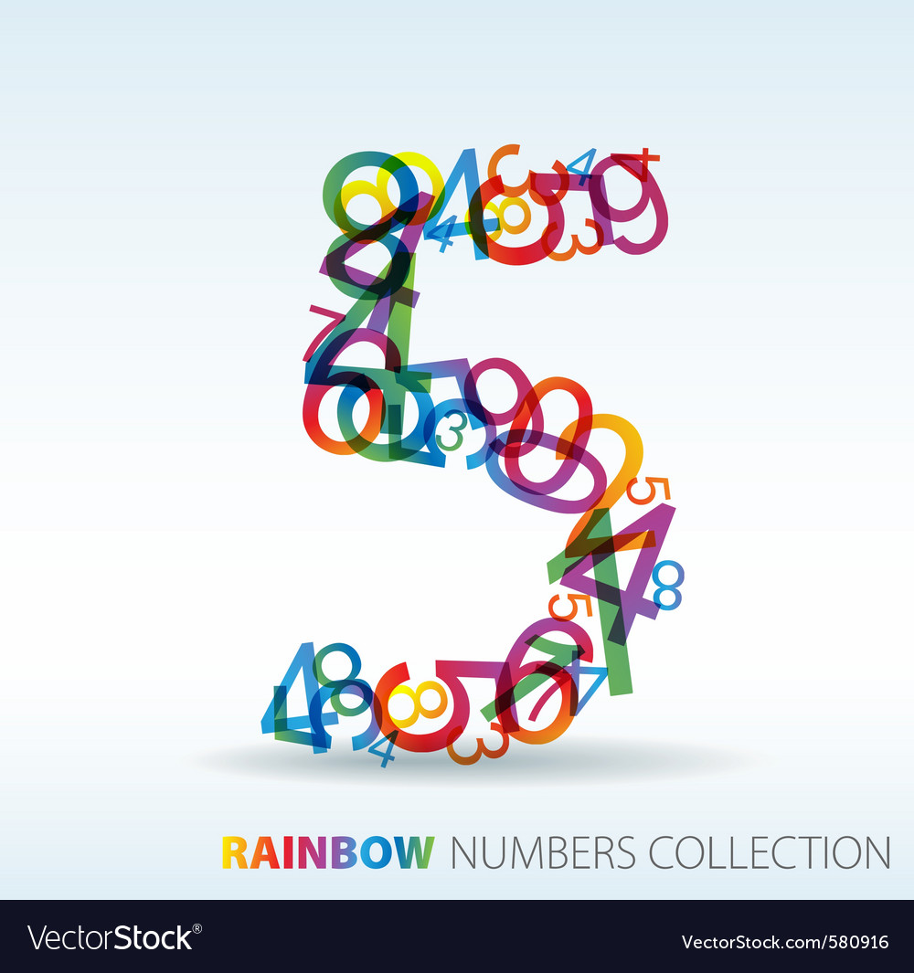 Rainbow number five vector | Price: 1 Credit (USD $1)