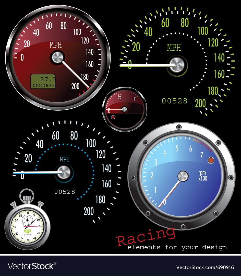 Set of speedometer and counter vector | Price: 1 Credit (USD $1)