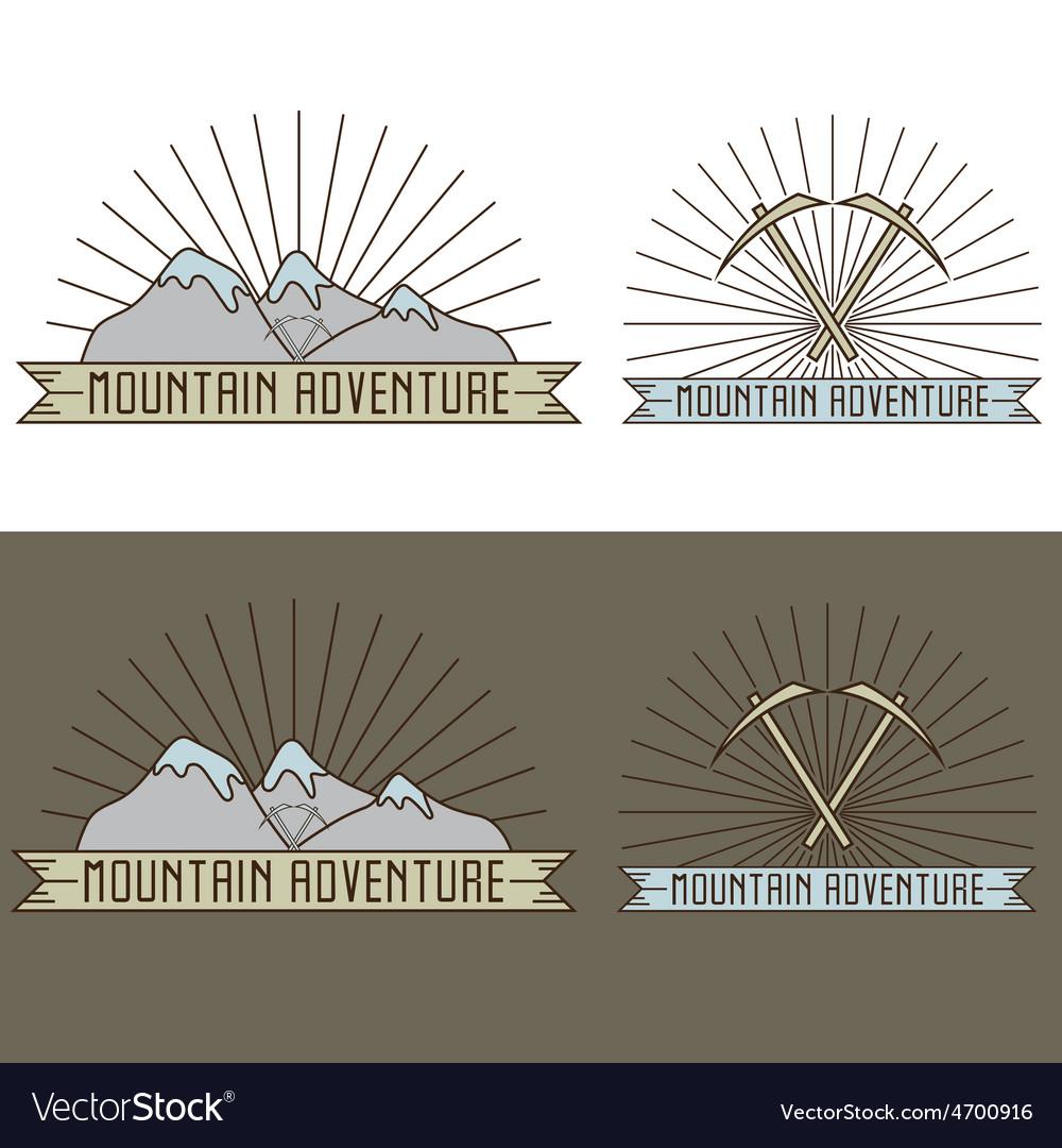 Set of vintage line craft labels mountain vector | Price: 1 Credit (USD $1)