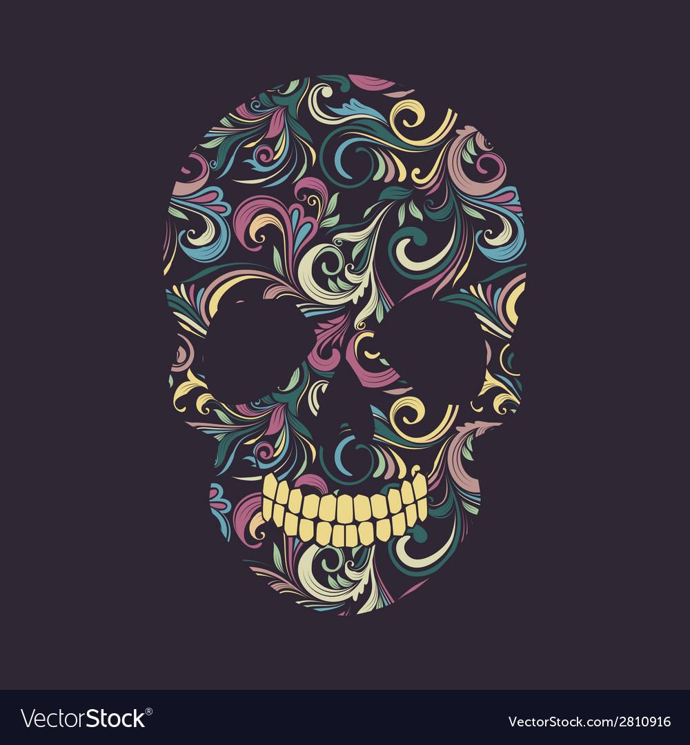 Skull swirl ornamental vector | Price: 1 Credit (USD $1)