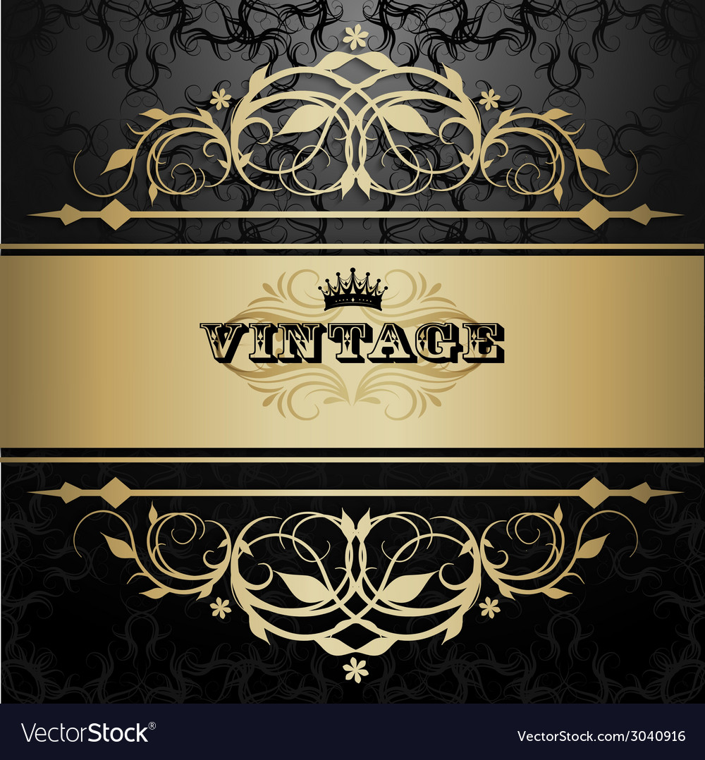 Vintage background with golden pattern vector | Price: 1 Credit (USD $1)