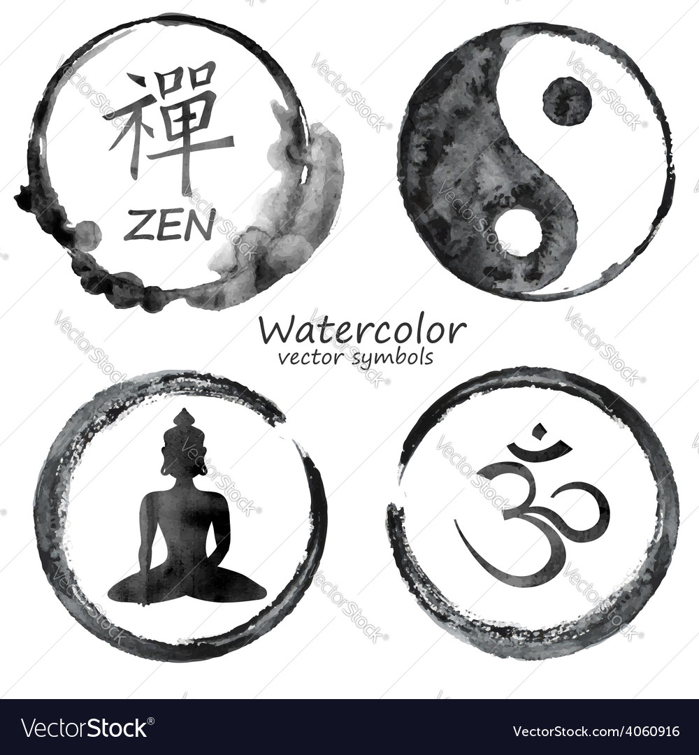 Watercolor set of yoga and buddhism icons vector | Price: 1 Credit (USD $1)