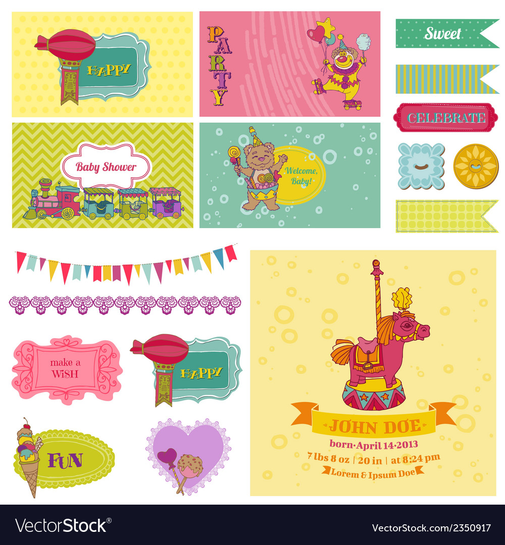 Baby shower circus party set vector | Price: 3 Credit (USD $3)