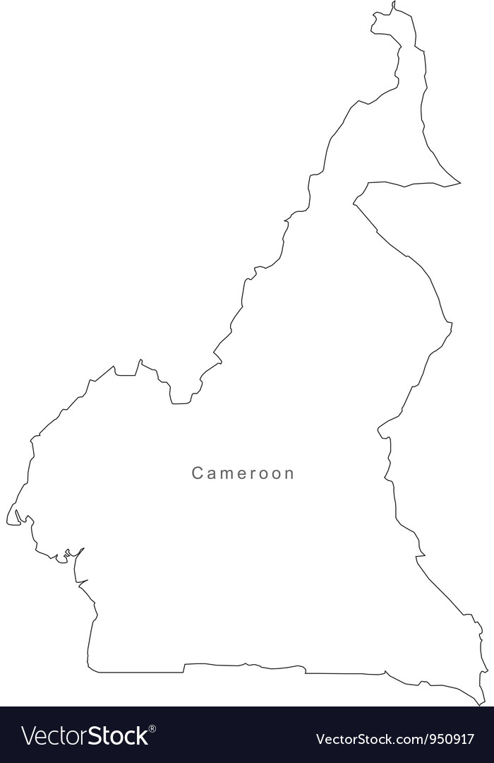 Black white cameroon outline map vector   Price: 1 Credit (USD $1)