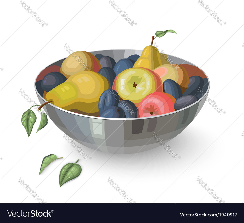 Bowl with fruits isolated on white vector | Price: 1 Credit (USD $1)