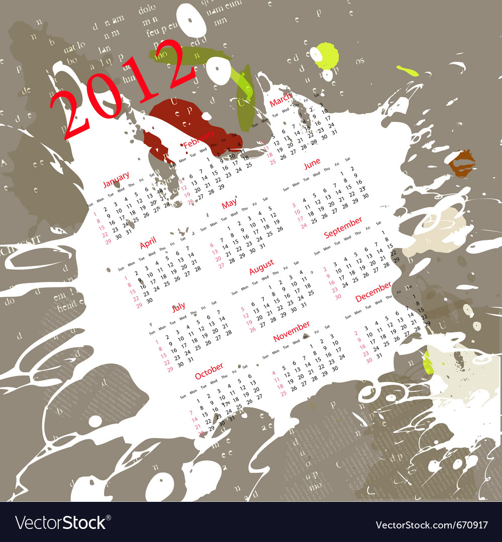 Calendar for 2012 on abstract background vector | Price: 1 Credit (USD $1)