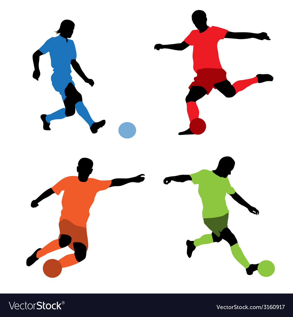Four soccer players vector | Price: 1 Credit (USD $1)