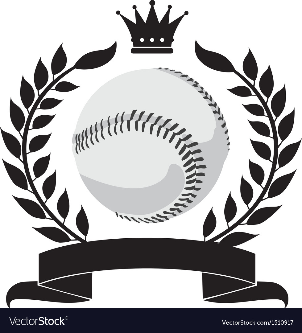 Logo with a wreath and a baseball vector | Price: 1 Credit (USD $1)