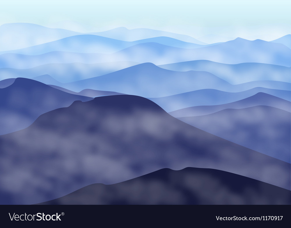 Mountains in fog vector | Price: 1 Credit (USD $1)