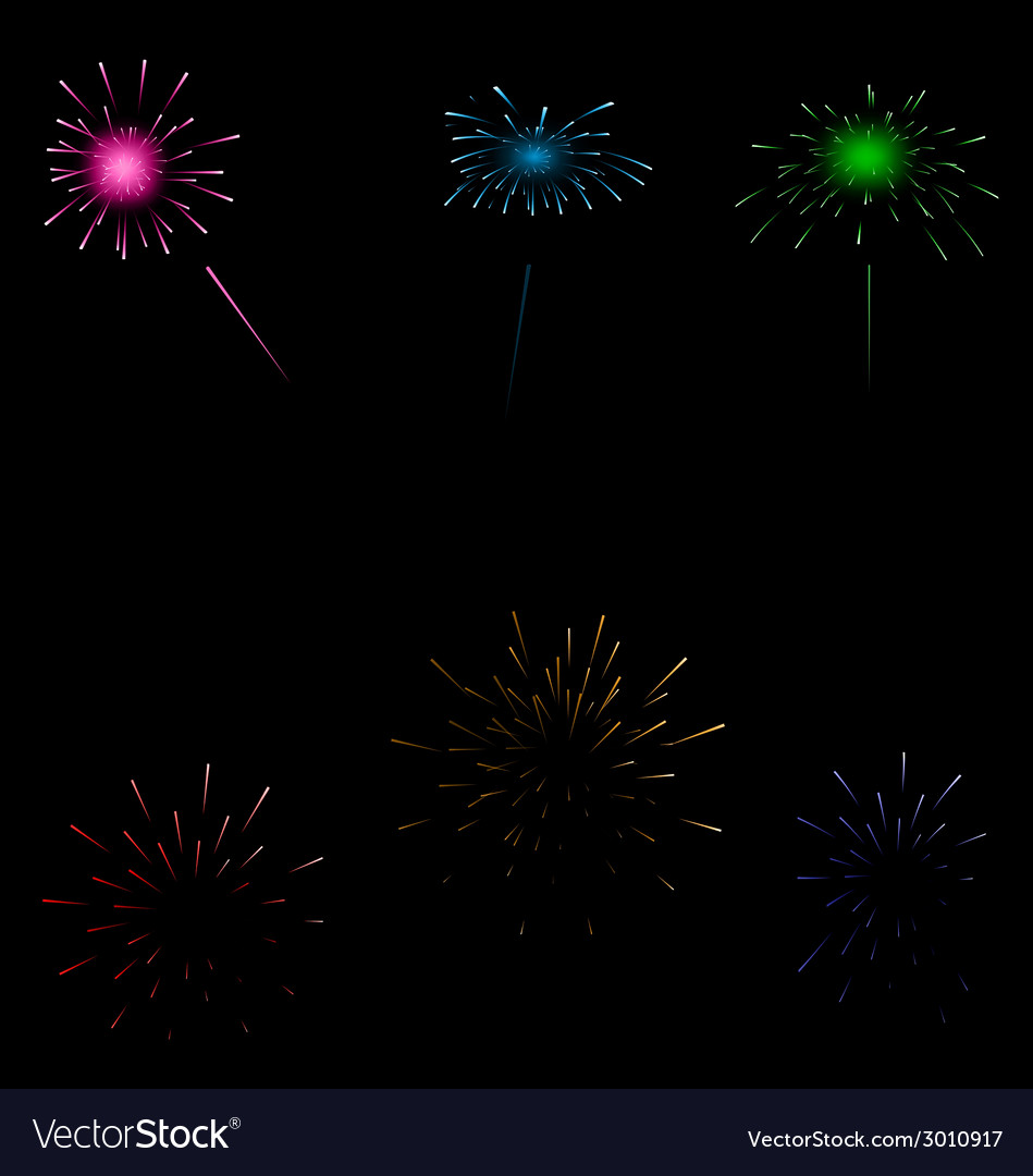 Set colorful fireworks on dark background vector | Price: 1 Credit (USD $1)