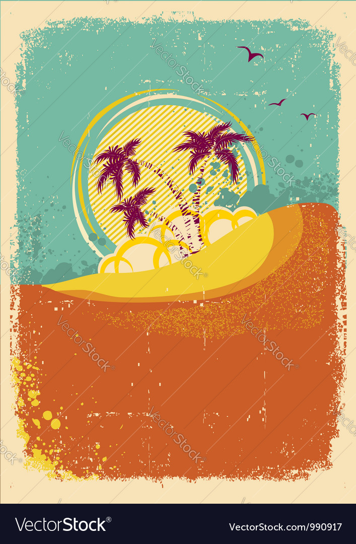 Tropical island on vintage old background with vector | Price: 1 Credit (USD $1)