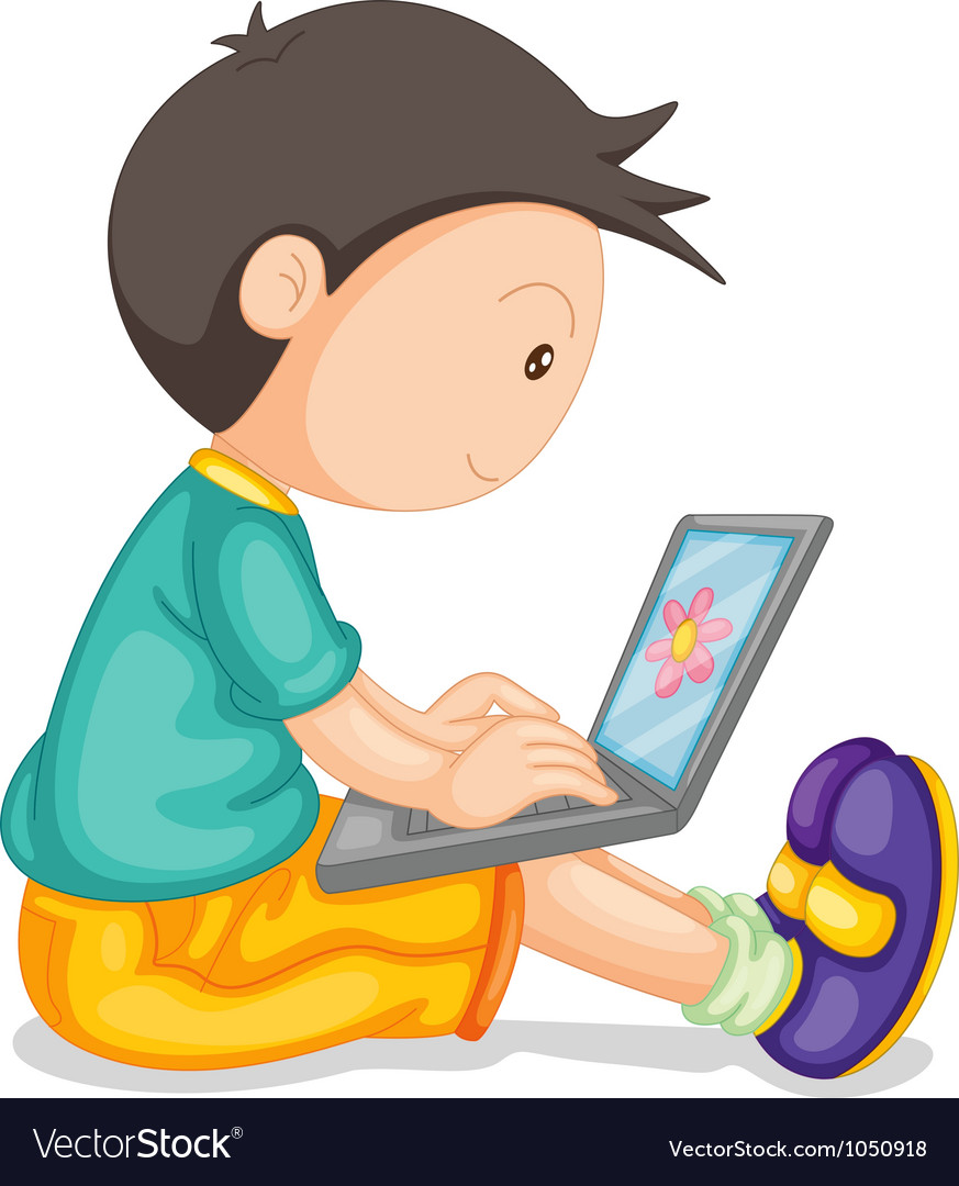 A boy and laptop vector | Price: 1 Credit (USD $1)