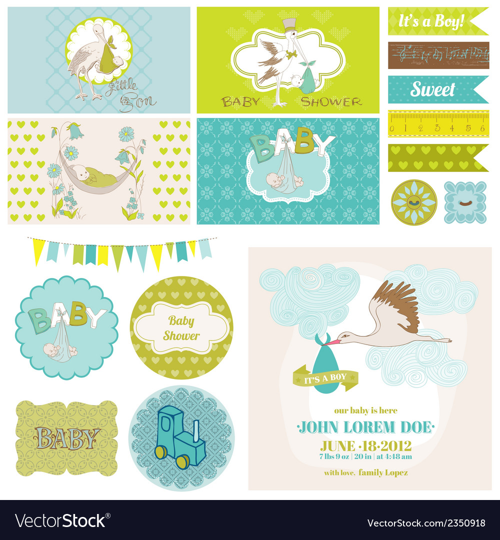 Baby shower stork theme set vector | Price: 3 Credit (USD $3)