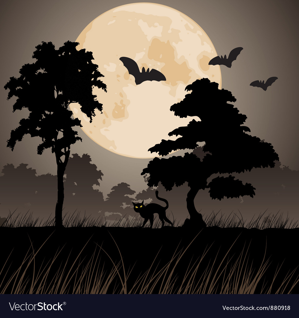 Big yellow moon and silhouettes of trees vector | Price: 1 Credit (USD $1)