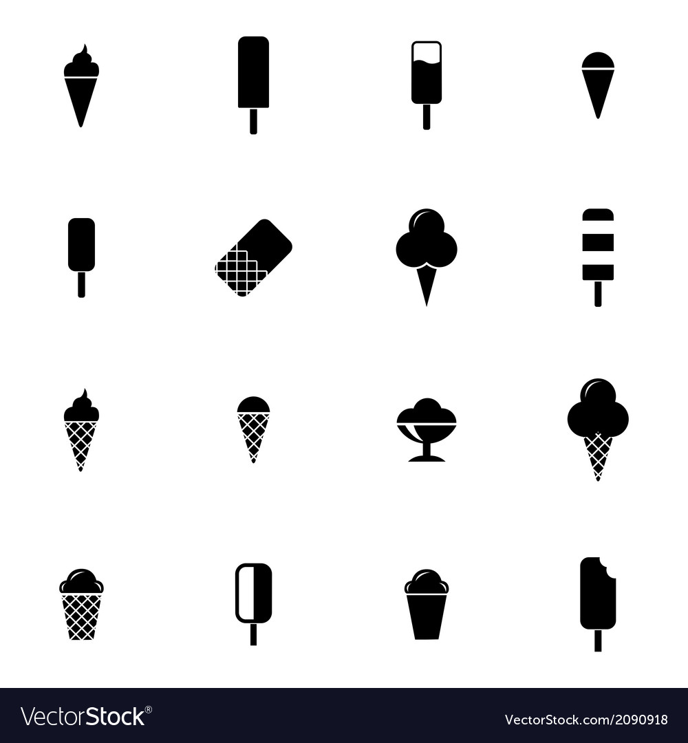 Black ice cream icons set vector | Price: 1 Credit (USD $1)
