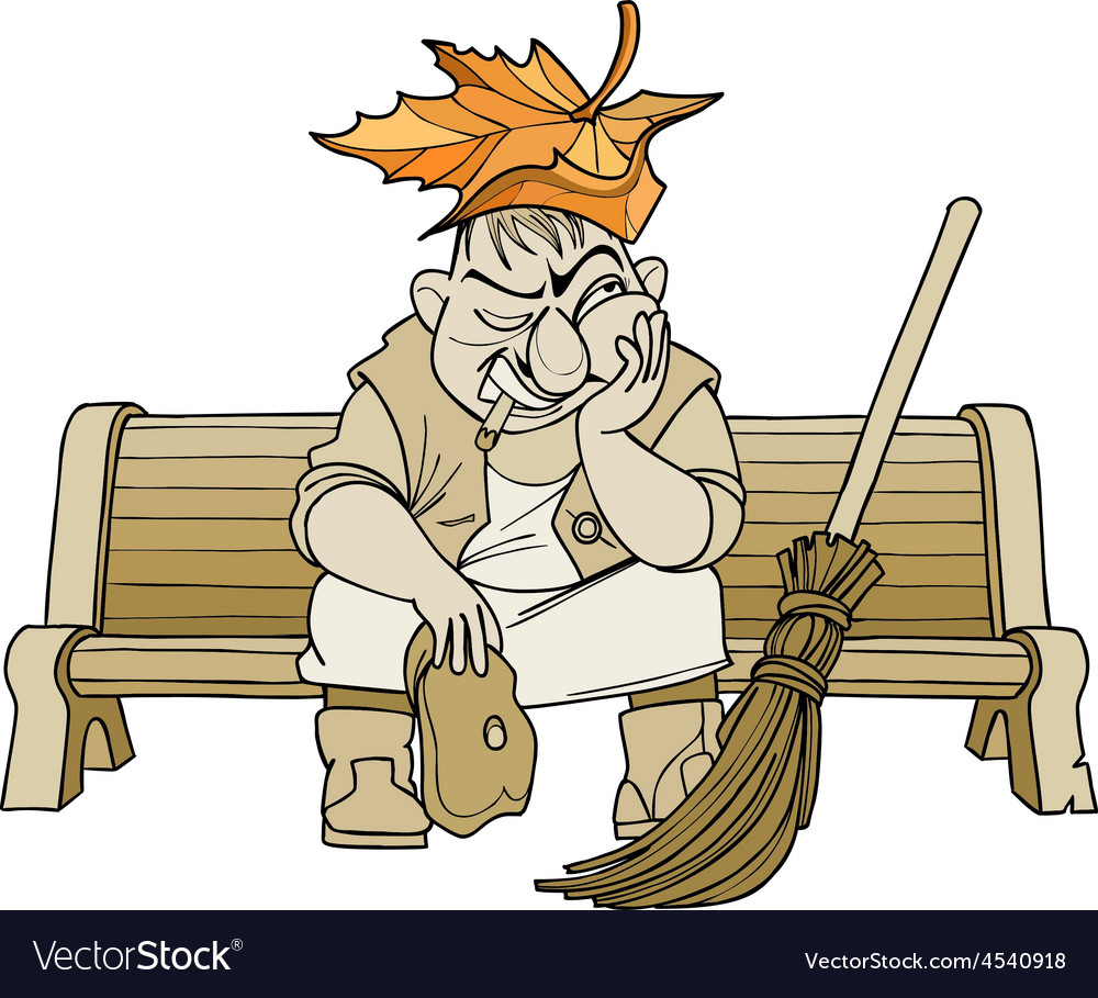 Cartoon janitor man sitting on a bench vector | Price: 1 Credit (USD $1)