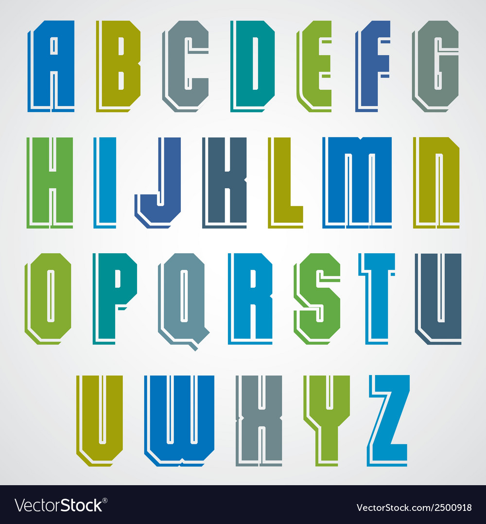 Colorful decorative font geometric uppercase vector | Price: 1 Credit (USD $1)