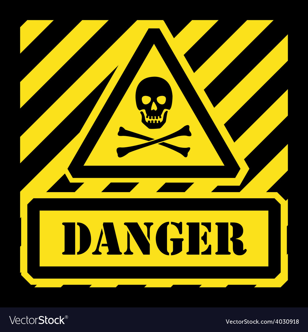 Danger sign yellow and black vector | Price: 1 Credit (USD $1)