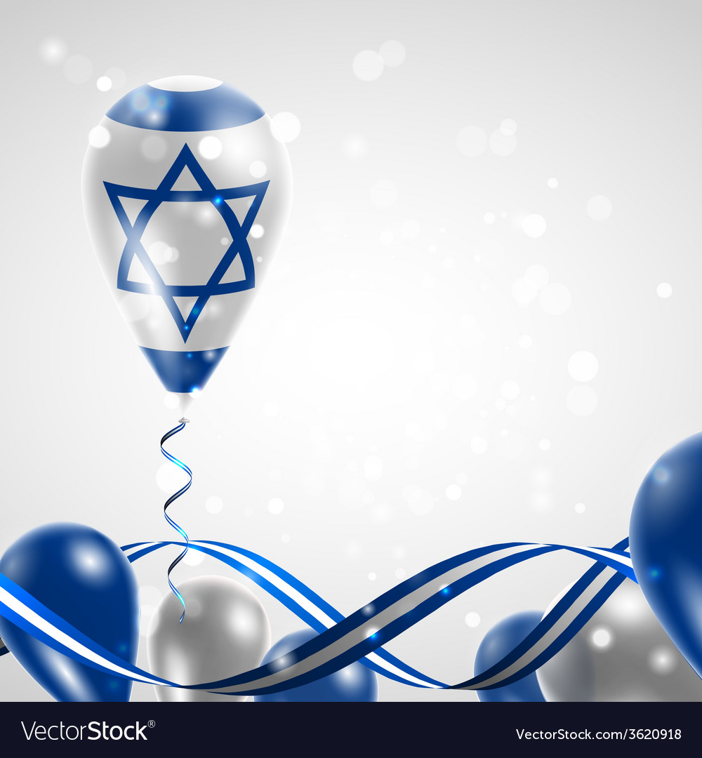 Flag of israel on balloon vector   Price: 1 Credit (USD $1)