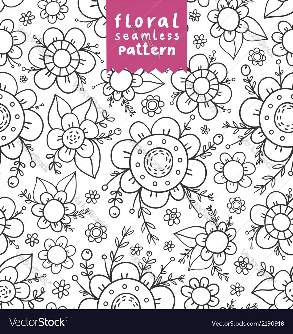 Flowers doodle pattern vector | Price: 1 Credit (USD $1)