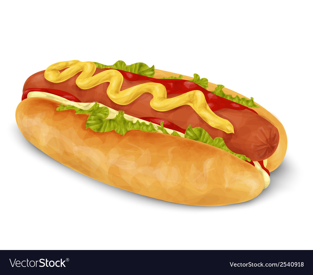 Hot dog isolated vector | Price: 1 Credit (USD $1)