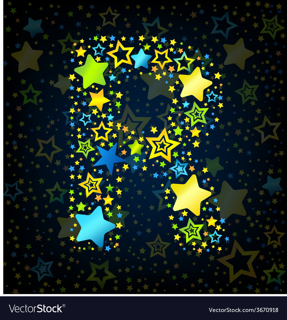 Letter r cartoon star colored vector | Price: 1 Credit (USD $1)