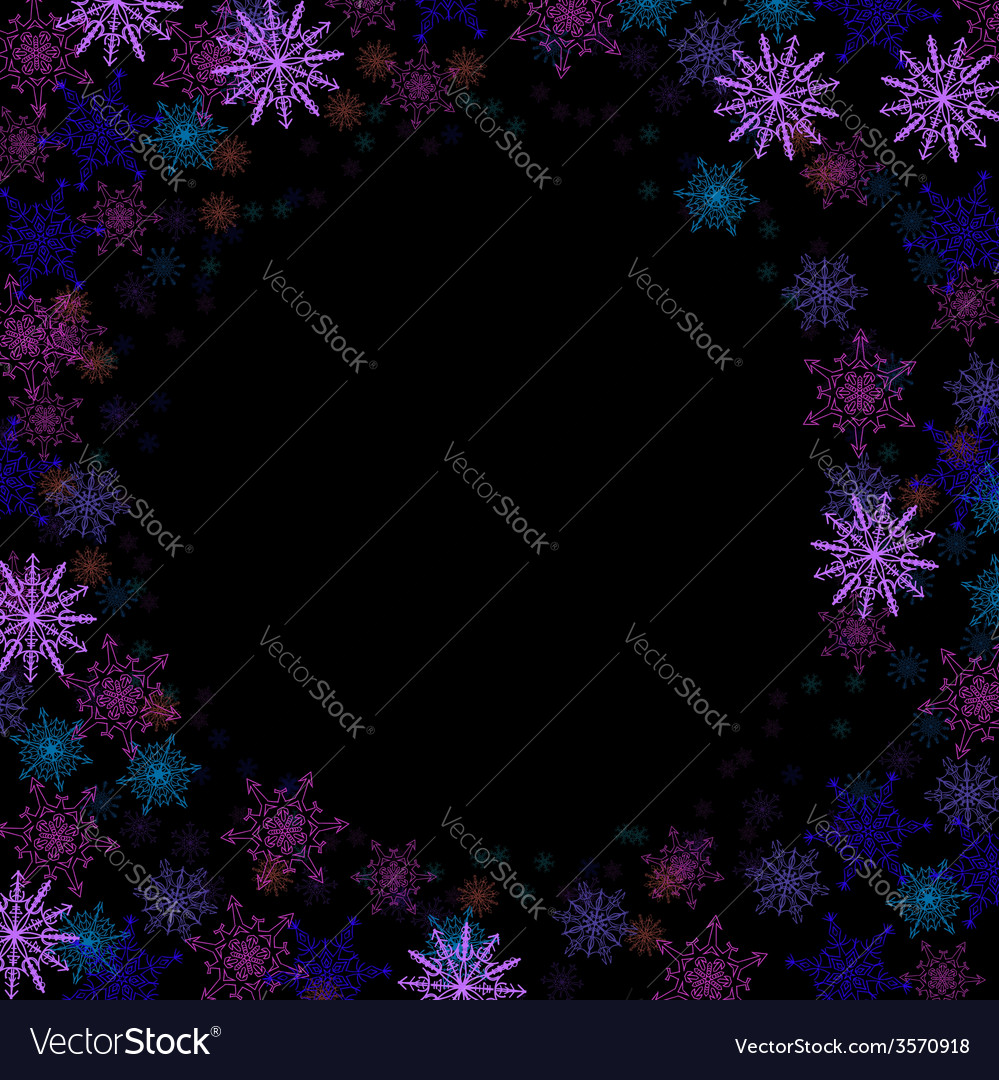 Rectangular frame with colorful small snowflakes vector | Price: 1 Credit (USD $1)