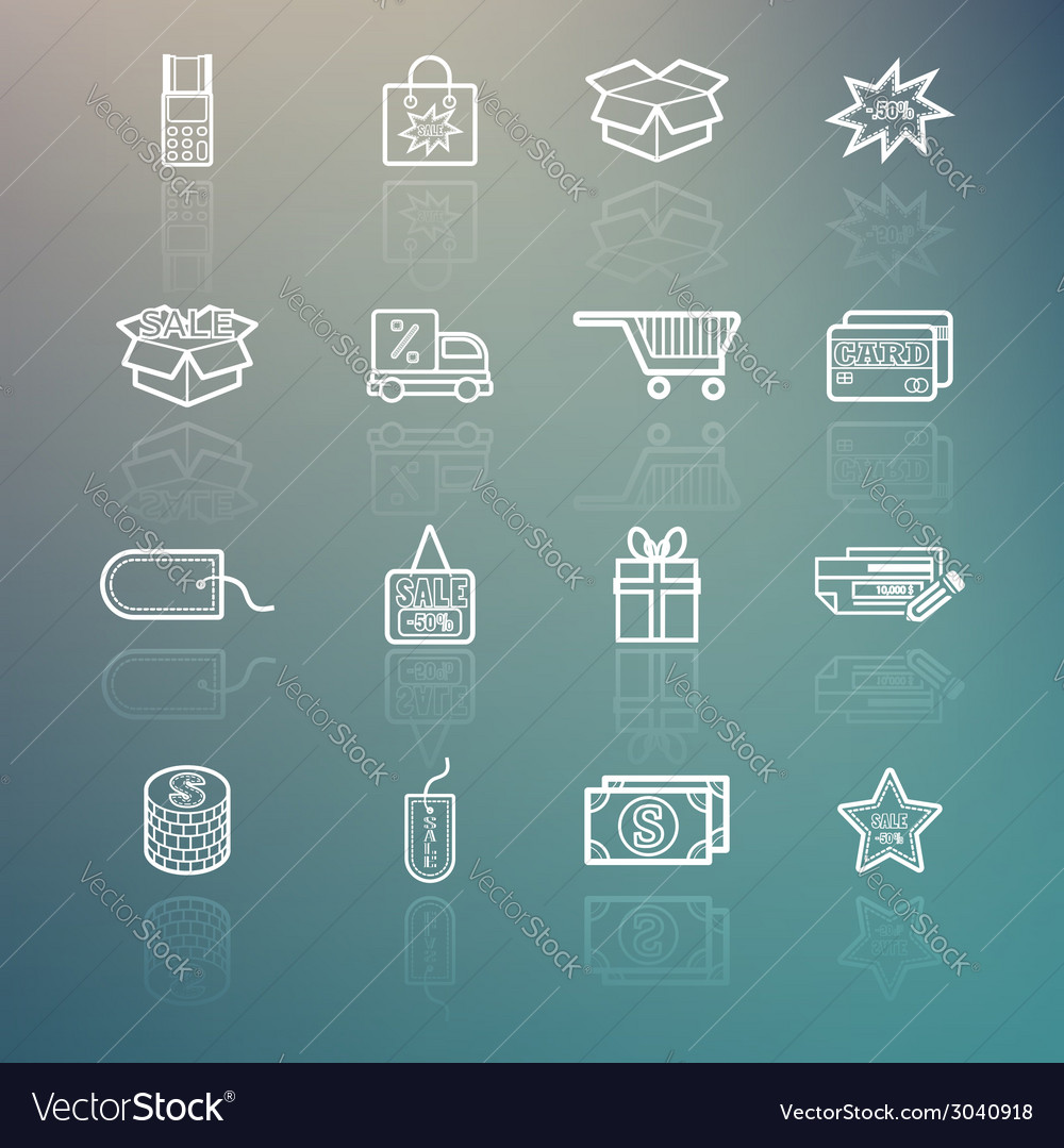 Shopping icons set on retina background vector | Price: 1 Credit (USD $1)