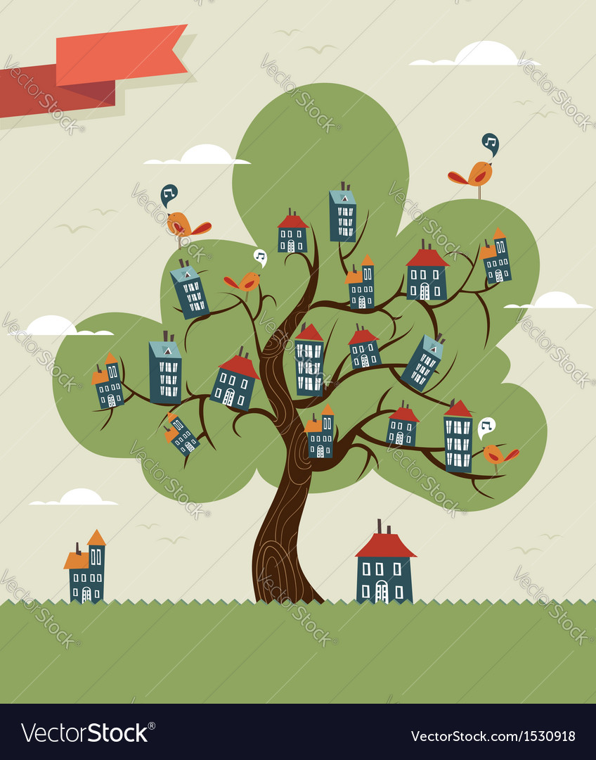 Tree cute city vector | Price: 1 Credit (USD $1)