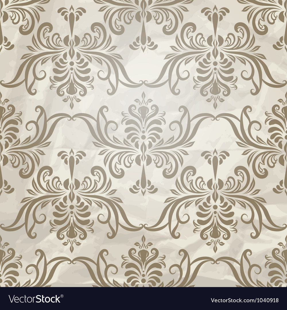 Vintage wallpaper pattern on crumpled paper vector | Price: 1 Credit (USD $1)