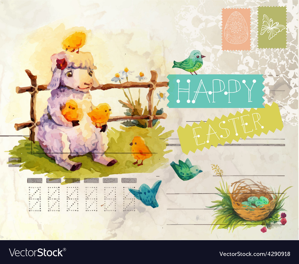 Watercolor vintage style easter card vector | Price: 3 Credit (USD $3)