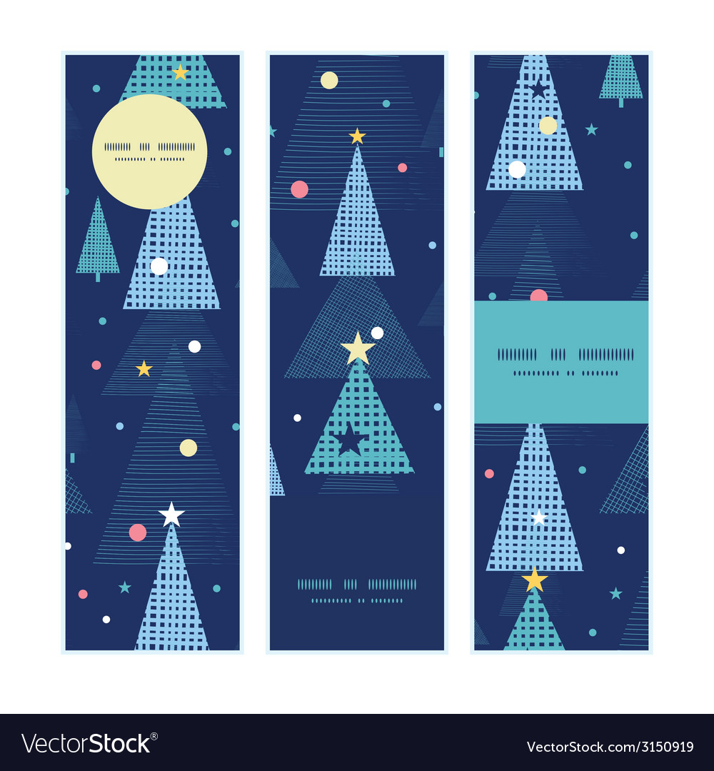 Abstract holiday christmas trees vertical banners vector | Price: 1 Credit (USD $1)