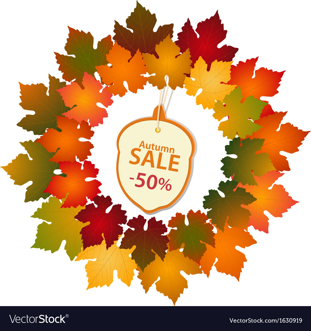 Autumn label and leaf border vector | Price: 1 Credit (USD $1)