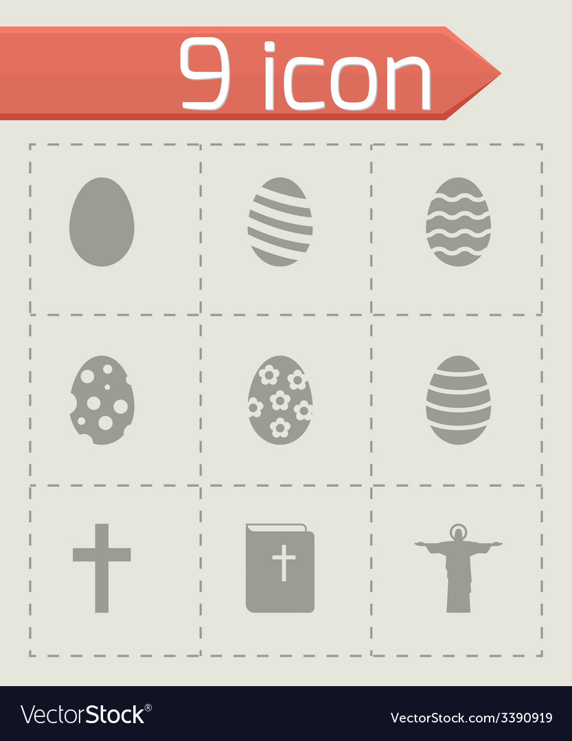Black easter icon set vector | Price: 1 Credit (USD $1)