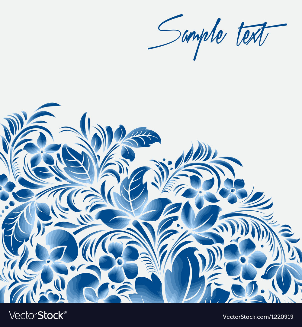 Blue flower ornament gzhel russian style vector   Price: 1 Credit (USD $1)