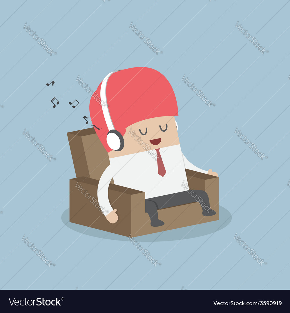 Businessman relaxing on sofa and listening to his vector | Price: 1 Credit (USD $1)