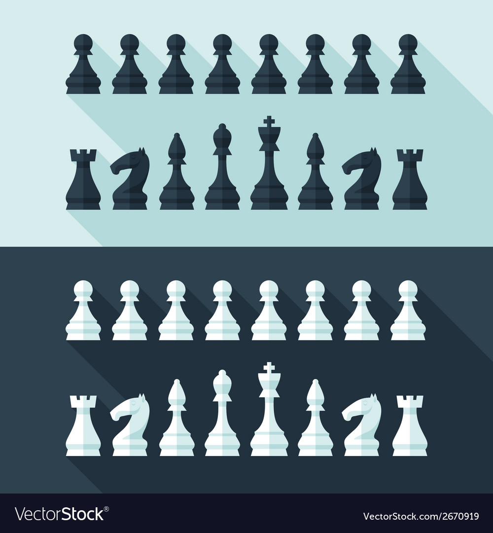 Chess figures set in flat modern style for design vector | Price: 1 Credit (USD $1)