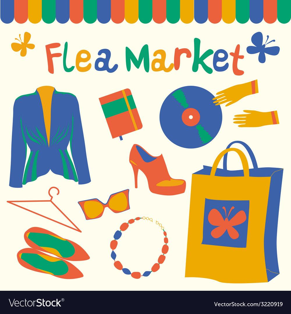 Flea market set vector | Price: 1 Credit (USD $1)