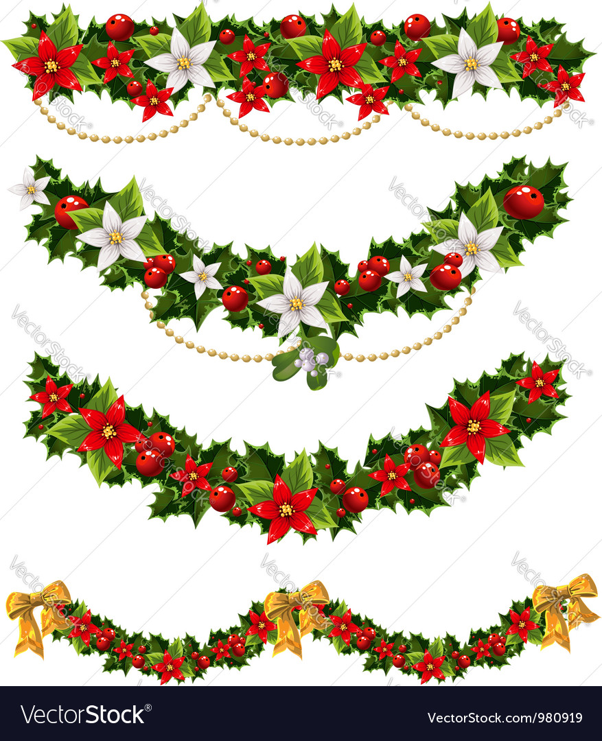 Green christmas garlands of holly and mistletoe vector | Price: 1 Credit (USD $1)