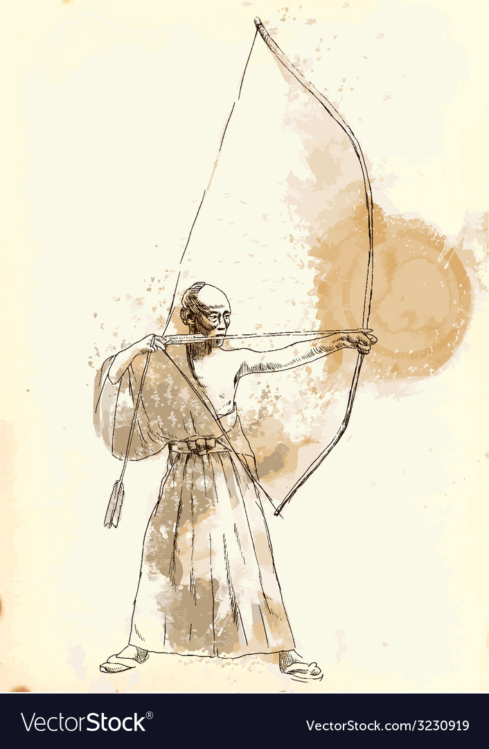 Kyudo - an hand drawn vector | Price: 1 Credit (USD $1)