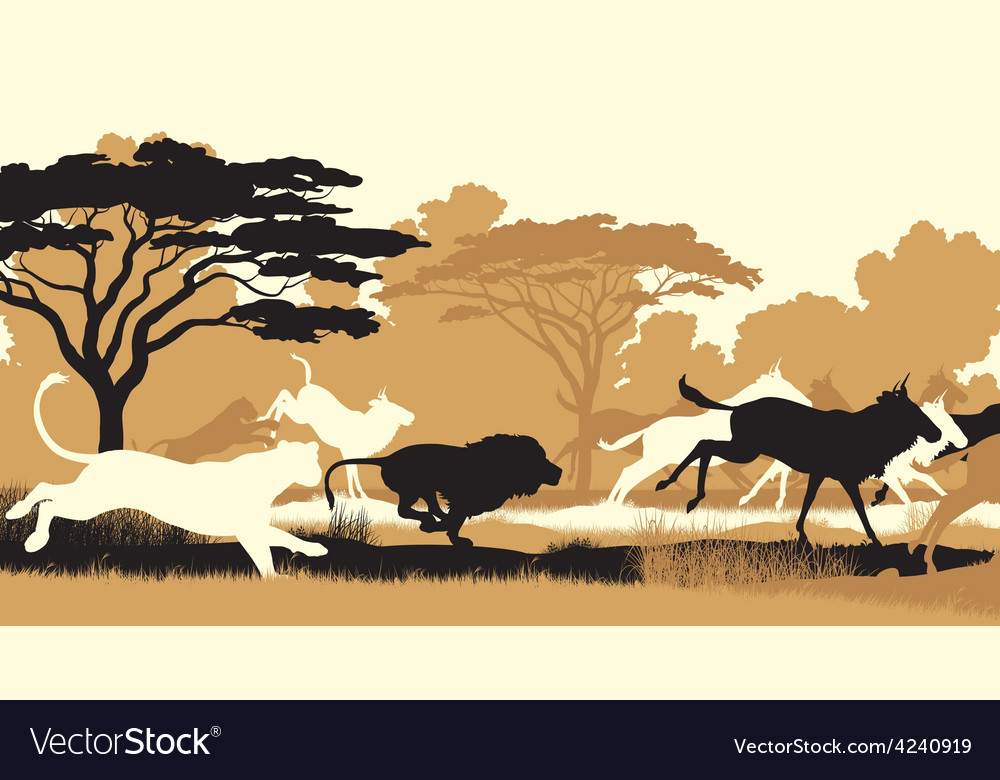 Lions hunting wildebeest vector | Price: 3 Credit (USD $3)