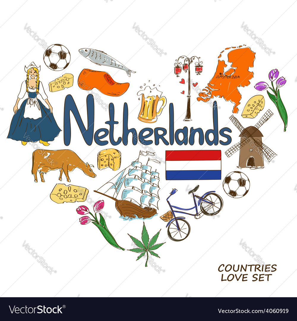 Netherlands symbols in heart shape concept vector | Price: 1 Credit (USD $1)