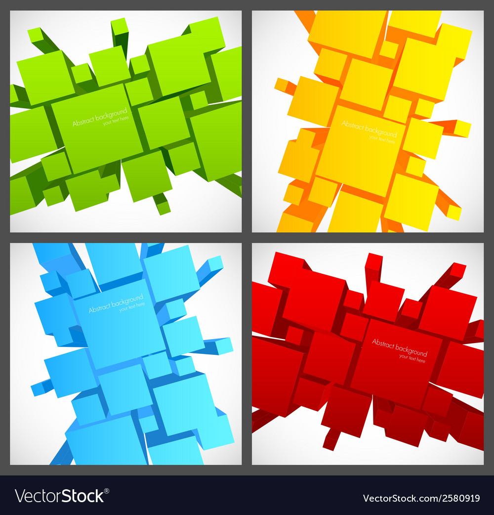 Set of backgrounds with 3d squares vector | Price: 1 Credit (USD $1)