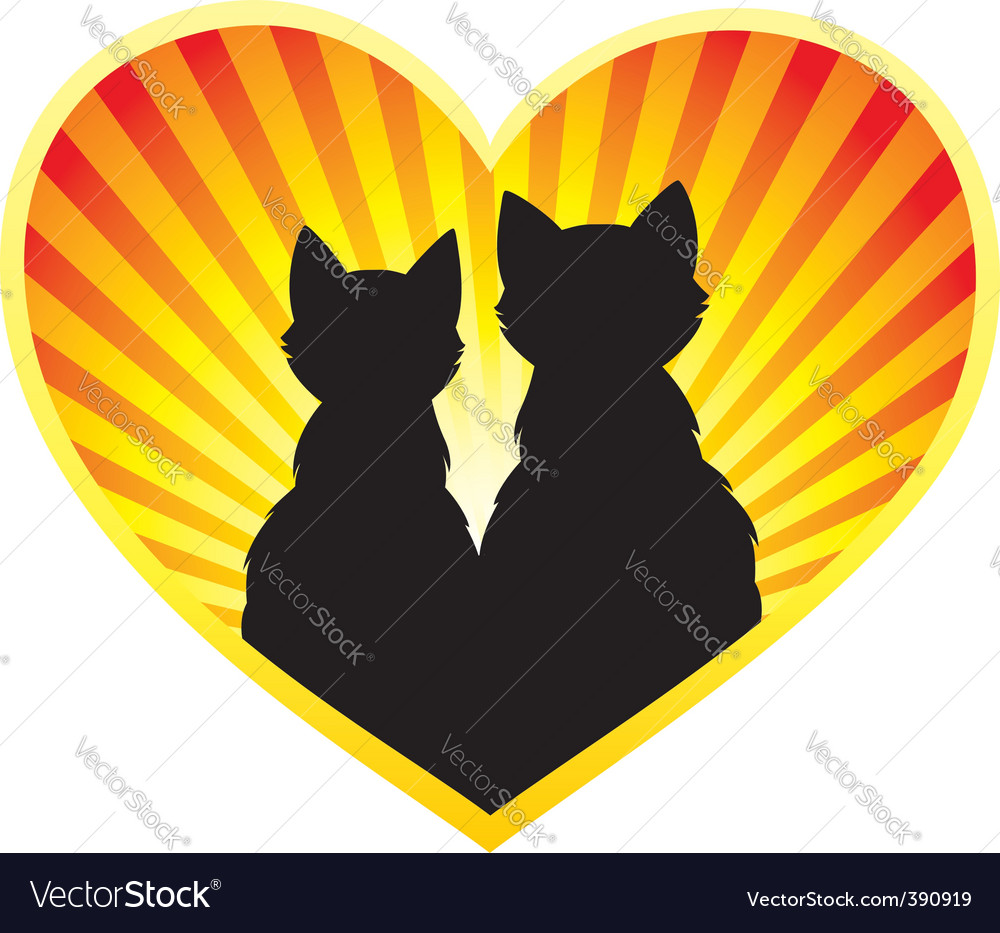 Silhouette of cats in love vector | Price: 1 Credit (USD $1)