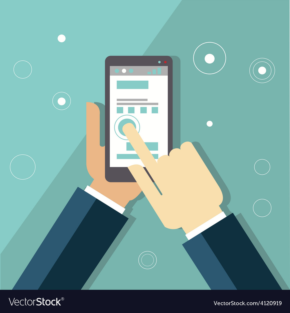 Smartphone apps infographics with hand holding a vector | Price: 1 Credit (USD $1)