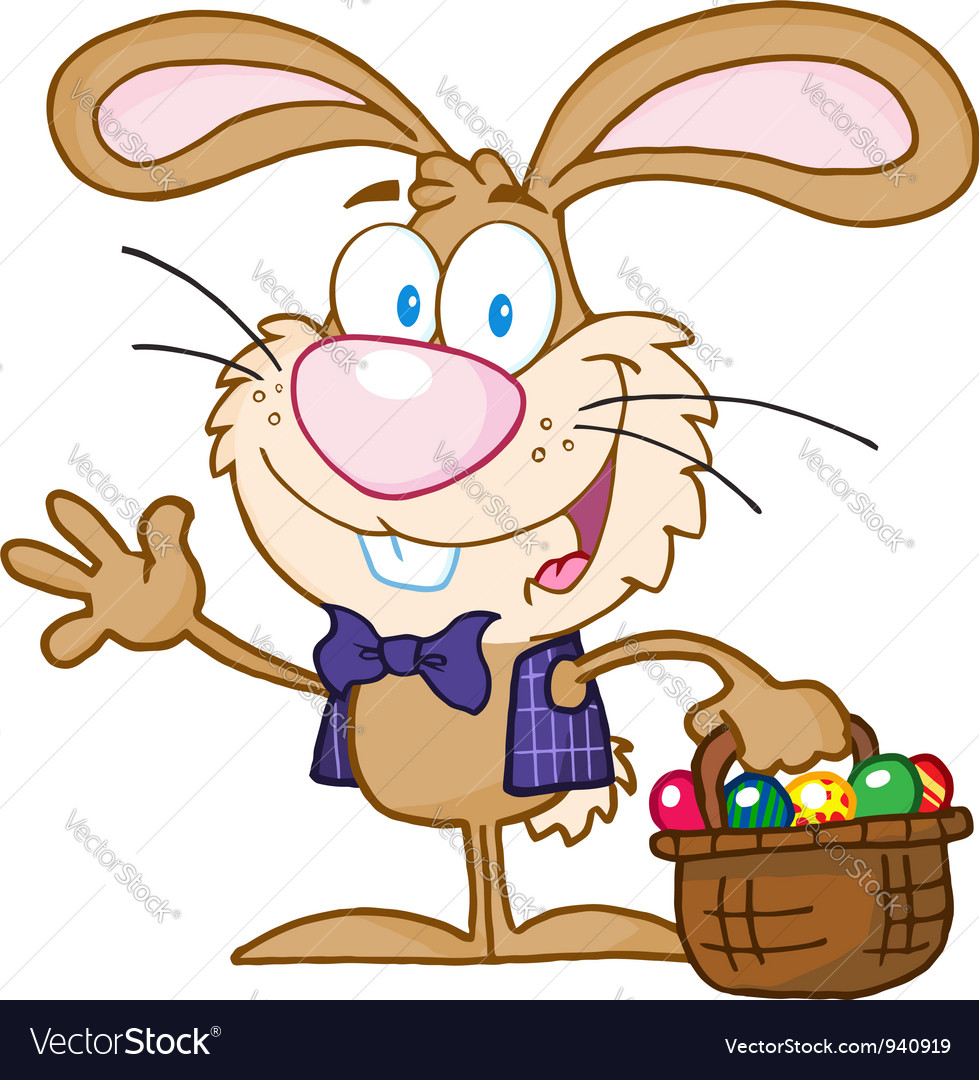 Waving bunny with easter eggs and basket vector | Price: 3 Credit (USD $3)