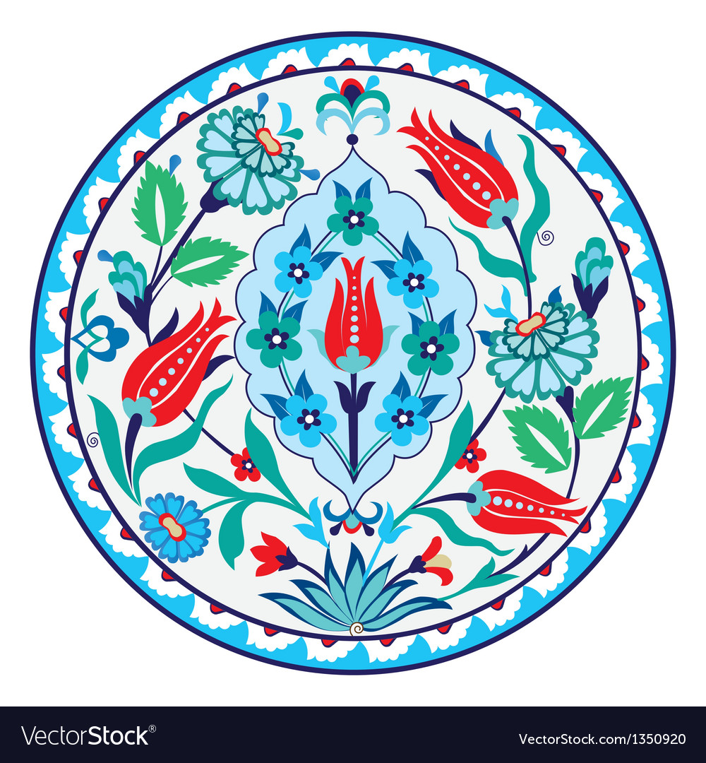Antique ottoman turkish ceramic design vector | Price: 1 Credit (USD $1)