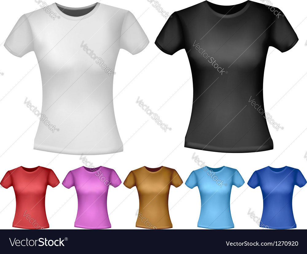 Black and white and color woman polo t-shirts vector | Price: 1 Credit (USD $1)
